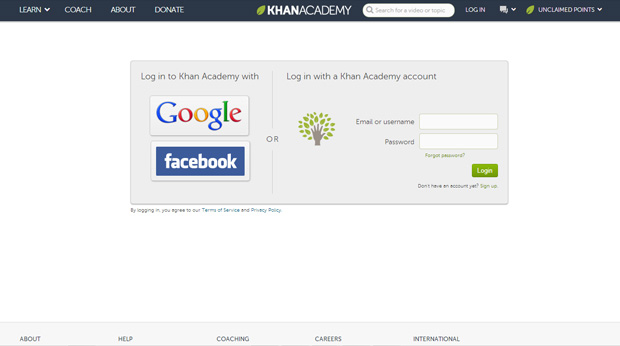 Creating an Account in KhanAcademy