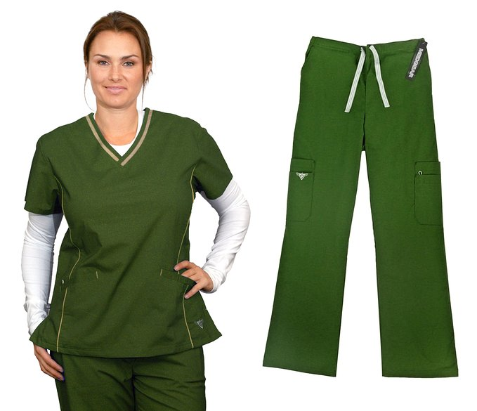 Material Girl Nurse Uniforms Scrub SET Top and Pants Fabric STRETCH 1040-08