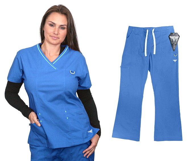 Material Girl Scrub Set Stretch Top and Pants 1039-07