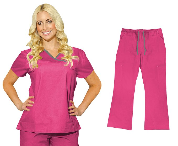 Medgear Womens Scrub Sets Tops and Cargo Pants #7870