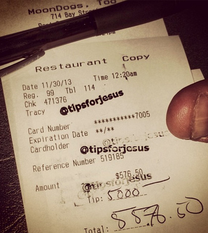 Anonymous @TipsforJesus Leaves Thousand of Dollars in Tips